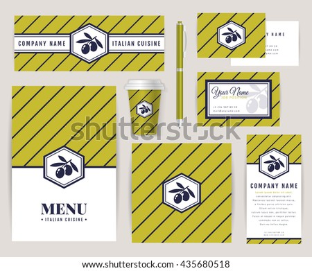 Kitchen business card vectors download free vector art stock set of corporate identity templates with olive logo italian cuisine themes menu id reheart Choice Image