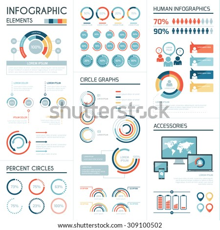 Set of corporate infographics vector elements in flat colors