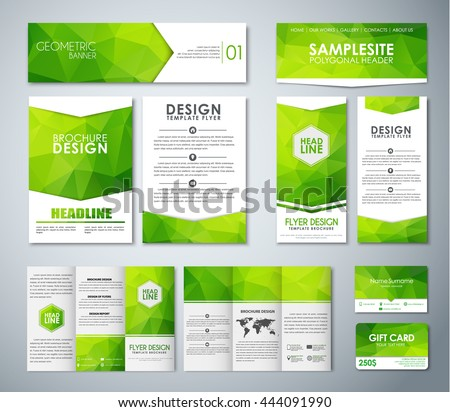 Set of corporate style with green polygonal elements. Templates pamphlets, flyers, banners, folding brochures and business cards. Vector illustration. Mockup