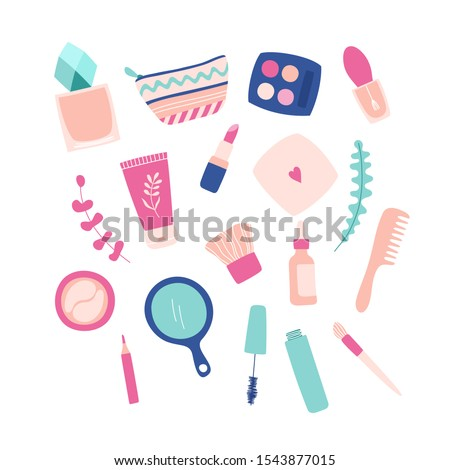 Set of cosmetics for makeup, facial skin care. Cream, powder, mascara, lipstick, perfume, eye patches, cosmetic bag, mirror, comb, eyeshadow palette. Vector hand-drawn illustration.