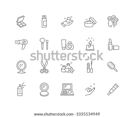 Set of Cosmetics outline icons isolated on white background.