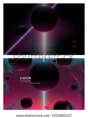 Set of cosmic space sphere shape and neon pink tropical leaves with geometric grid lines, retro-vintage techno tropics background