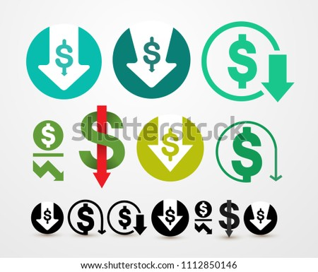 Set of cost reduction icon. Expense abbreviation Vector illustration. Isolated on white background