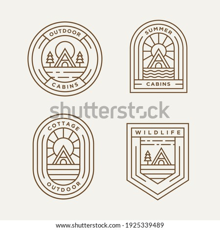 set of cottage and cabin minimalist line art logo template vector design illustration. simple modern estate logo concept Photo stock ©