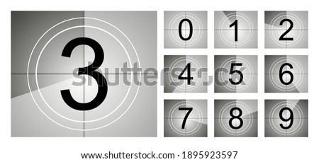 Set of countdown frame. Film countdown. Movie timer count. Retro cinema strip. Vintage timer count.