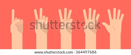 set of counting hand sign from