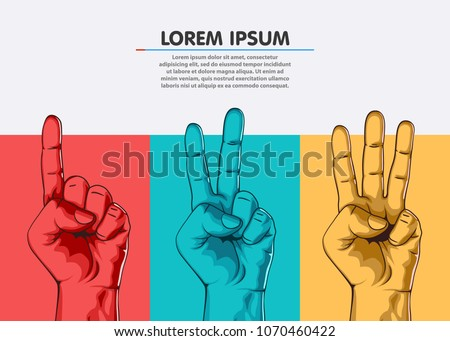 Set of counting one two three hand sign. Three steps or options concept. Vector illustration