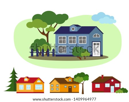 Set of country houses with trees. Village and nature elements. Vector illustration.