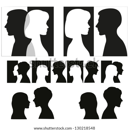 Set of couple silhouettes.