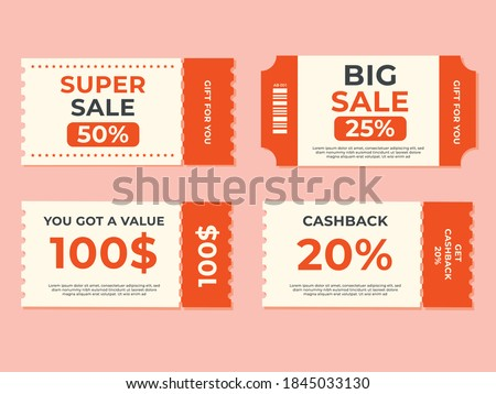 Set of coupon promotion sale for website, internet ads, social media or coupon. Big sale and cashback coupon discount. Coupon discount with vector illustration