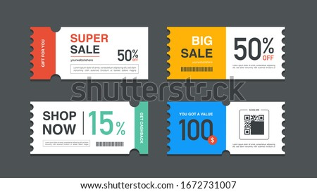 Set of coupon promotion sale for website, internet ads, social media or coupon. Big sale and super sale coupon discount. Coupon discount with vector illustration