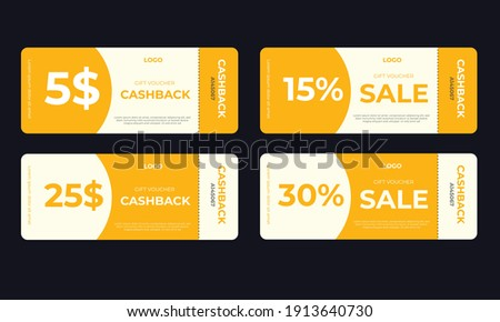 Set of coupon promotion sale for website, internet ads, social media or coupon. Cashback coupon discount. Coupon discount with vector illustration