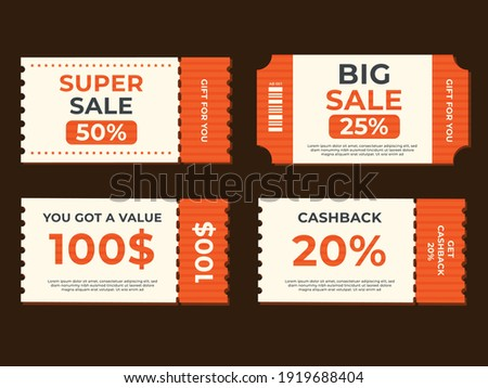 Set of coupon promotion sale for website, internet ads, social media or coupon.Cashback coupon discount. Coupon discount with vector illustration