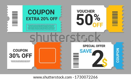 Set of coupon promotion sale for website, internet ads, social media or coupon. sale coupon discount. Coupon discount with vector illustration