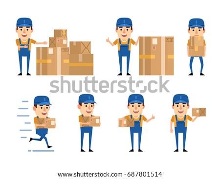 Set of courier characters posing with various cardboard boxes. Funny workman holding parcel, running and showing other actions. Simple vector illustration