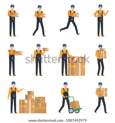 Set of couriers in dark overalls posing with various parcel boxes. Cheerful delivery service worker holding package, running and showing other actions. Flat design vector illustration