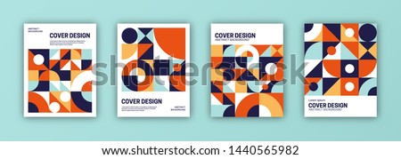 Set of cover templates. Abstract geometric shapes composition.