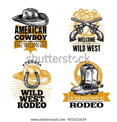 set of cowboy colored isolated