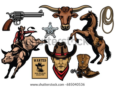 set of cowboy objects