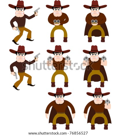 Set of cowboys. A vector illustration