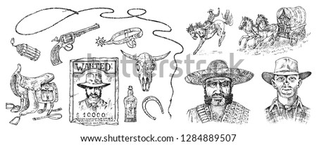 Set of cowboys. Western icons, Texas Ranger equipments. Wild West. Vintage Engraved hand drawn sketch. Portrait of a criminal man, sheriff and saddle, skull of a bull, whip and revolver trap.