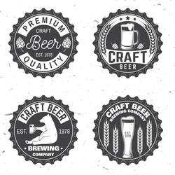 Set of Craft Beer badges. Vector illustration. Vintage design for bar, pub and restaurant business. Coaster for beer or beer bottle cap. Typography design for Oktoberfest Festival.