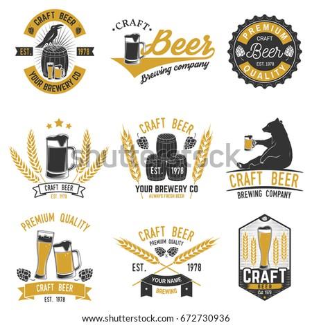 Set of Craft Beer badges with hops, raven and bear. Vector illustration. Vintage design for bar, pub and restaurant business. Coaster for beer. Oktoberfest Overlay