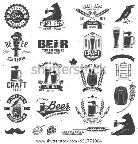 Set of Craft Beer badges with with design elements. Vector illustration. Vintage design for bar, pub and restaurant business. Coaster for beer. Craft beer badges in vintage style. Oktoberfest Overlay