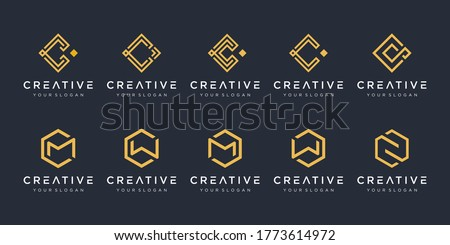 Set of creative abstract monogram logo design template. icons for business of luxury, elegant, simple. letter c, letter m. - vector Stock fotó ©