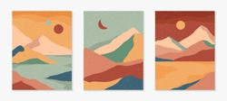 Set of creative abstract mountain landscape backgrounds.Mid century modern vector illustration with hand drawn mountains;desert or river; sky,moon or sun.Trendy contemporary design.Wall art decor.