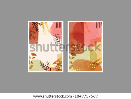 Set of creative autumn shades copy space leaves hand painted illustrations for wall decoration, postcard or brochure cover design. Vector EPS10