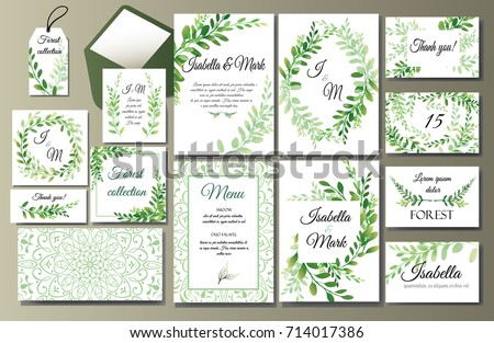 Set of creative botanical vector cards. Forest invite design for brochure, poster, flyer. Template for Wedding invitation, birthday. Herbs and leaves, green frames and wreath