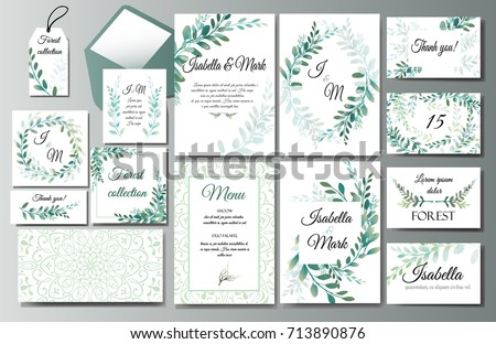 Set of creative botanical vector cards with eucalyptus. Forest invite design for brochure, poster, flyer. Template for Wedding invitation, birthday. Herbs and leaves, green frames and wreath