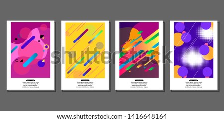 Set of creative brochures in memphis style. Memphis style design style for poster and banner. Vector illustration.