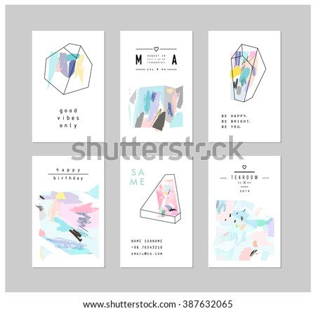 set of creative cards and