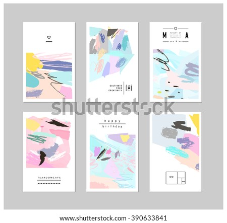 Set of creative cards and posters with geometric outline shapes and crystals. Trendy hipster logotypes. Polygonal icons with artistic colored background. Vector. Isolated.