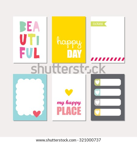 Set of creative cards design. Vector design templates for journal cards, scrapbooking cards, greeting cards, gift cards, patterns, art decoration etc.