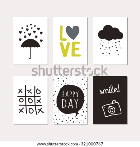 set of creative cards design