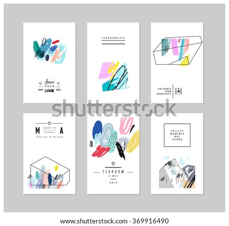set of creative cards with