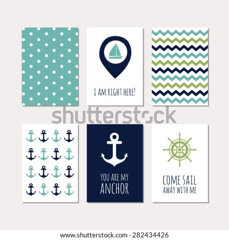 set of creative cards with navy