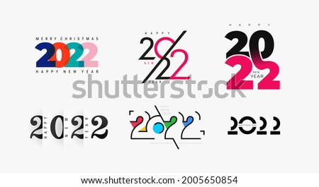 Set of creative concept logo design of 2022 Happy New Year posters. Templates with typography logo 2022 for celebration and season decoration. Minimalist trendy for branding, cover, card, banner.