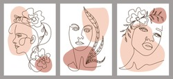 Set of creative hand painted one line abstract female portraits. Minimalist vector icon of people with color spots. For postcard, poster, poster, brochure, cover design, web.