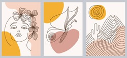 Set of creative hand painted one line abstract shapes. Minimalist vector icons: woman portrait, butterfly, mountains. For postcard, poster, poster, brochure, cover design, web.
