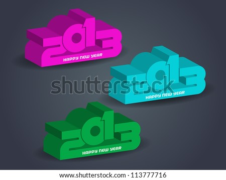 set of creative happy new year 2013 design elements in three colors.