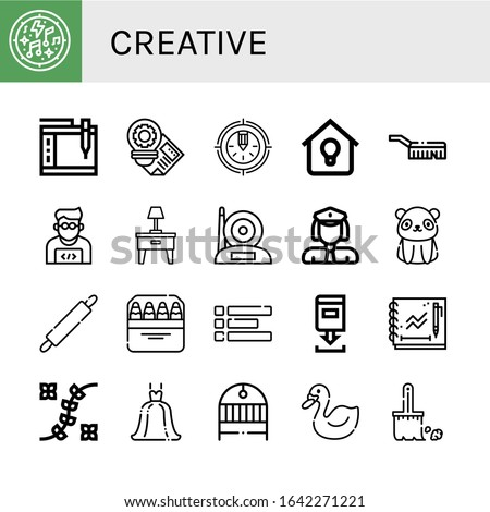set of creative icons such as