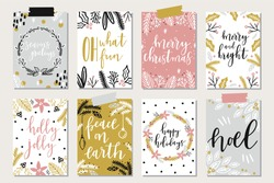 Set of creative 8 journaling cards. Christmas Posters set. Vector illustration. Template for Greeting Scrapbooking, Congratulations, Invitations, Stickers, Planners.