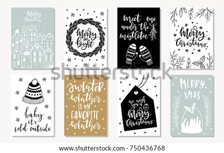 Set of creative 8 journaling cards. Christmas Posters set. Vector illustration. Template for Greeting Scrapbooking, Congratulations, Invitations, Stickers, Planners. Scandinavian style. #750436768