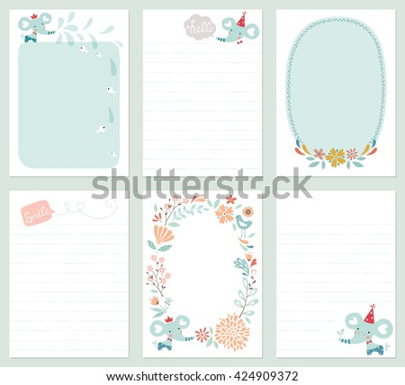 Set of 6 creative journaling cards with floral wreath, baby elephant, decorative flowers, bird and fish.  Template for scrapbooking, notebook, wrapping, diary and children's party printable cards.