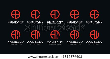 Set of creative letter A and etc logo design template with circle style. icons for business of luxury, elegant, simple. Stok fotoğraf ©
