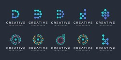 set of creative letter d and b logo with dot style. Universal colorful biotechnology molecule atom DNA chip symbol. This logo is suitable for research, science, medical, logotype, technology, lab,